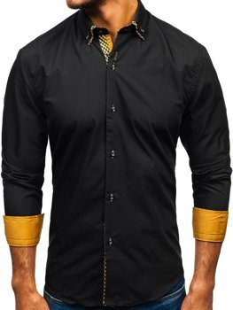 Koszula męska BOLF 4708 czarno-brązowa