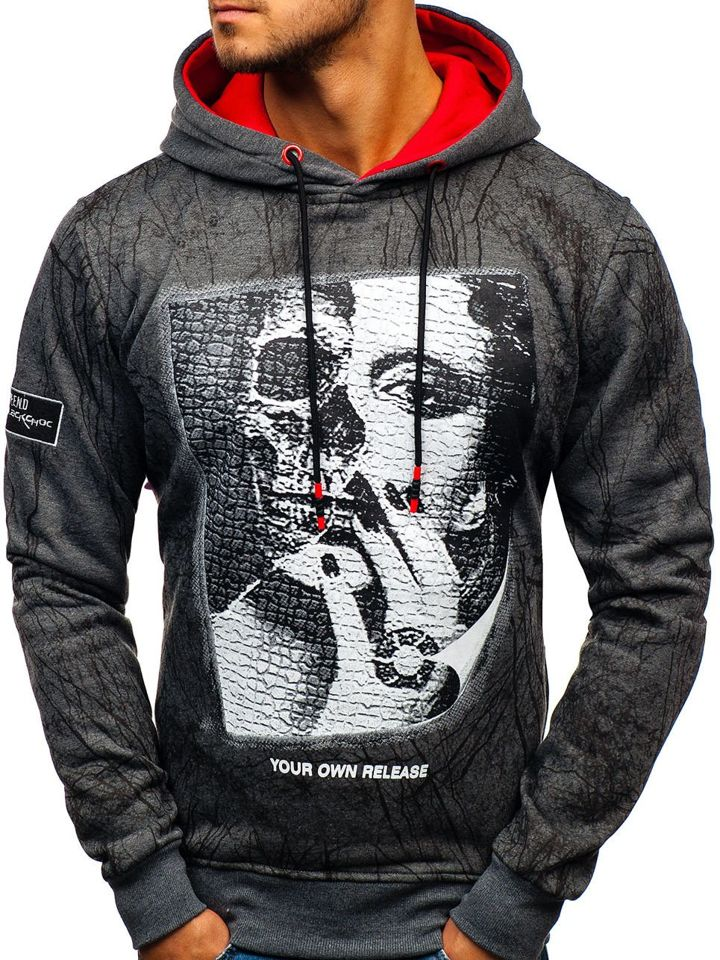 Bluza męska z kapturem grafitowa Denley DD627