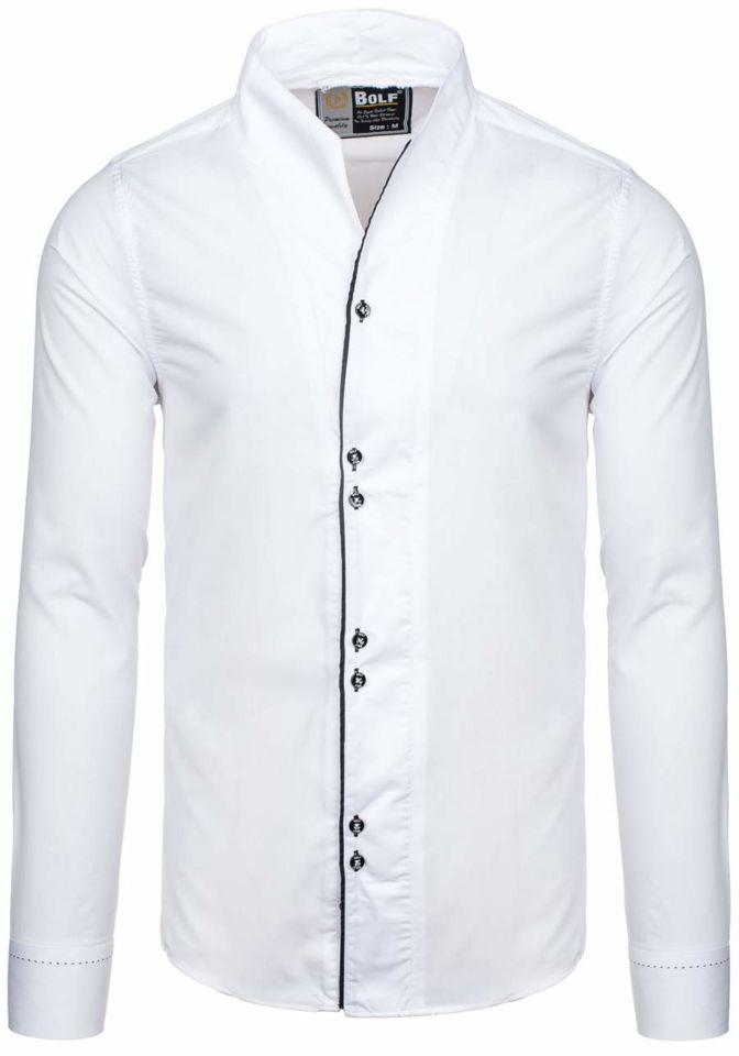650950c0751caa Biała koszula męska z długim rękawem Bolf 5720-1 - BIAŁY