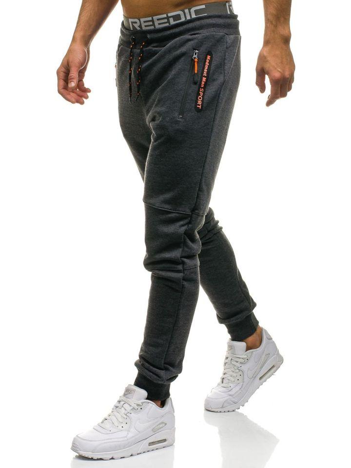 Spodnie męskie dresowe joggery grafitowe Denley 1607