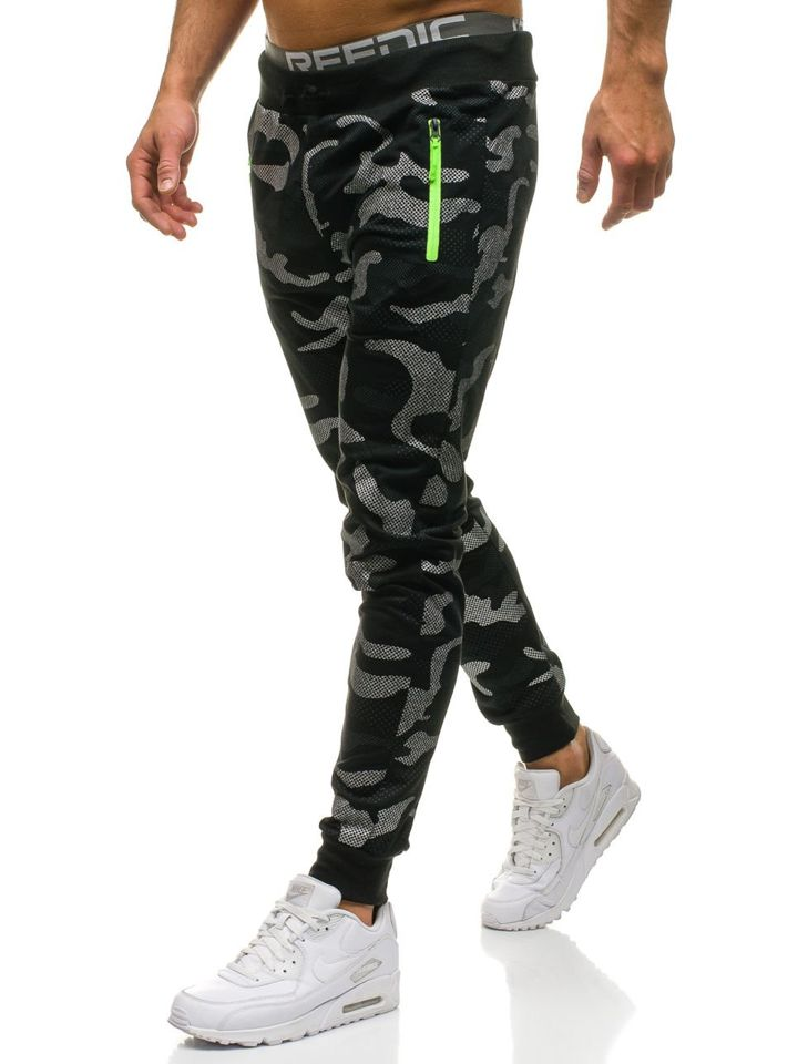 Spodnie męskie dresowe joggery moro-czarne Denley ML223