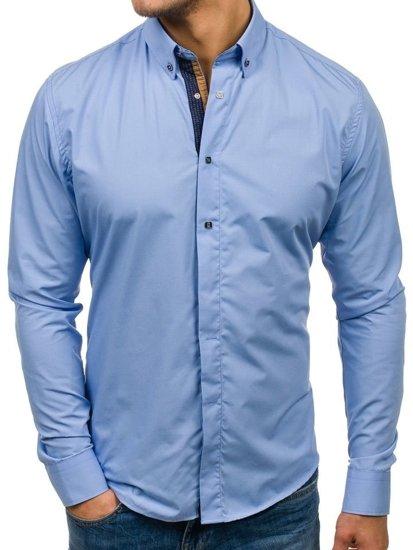 Koszula męska elegancka z długim rękawem błękitna Bolf 7727  pqY4p